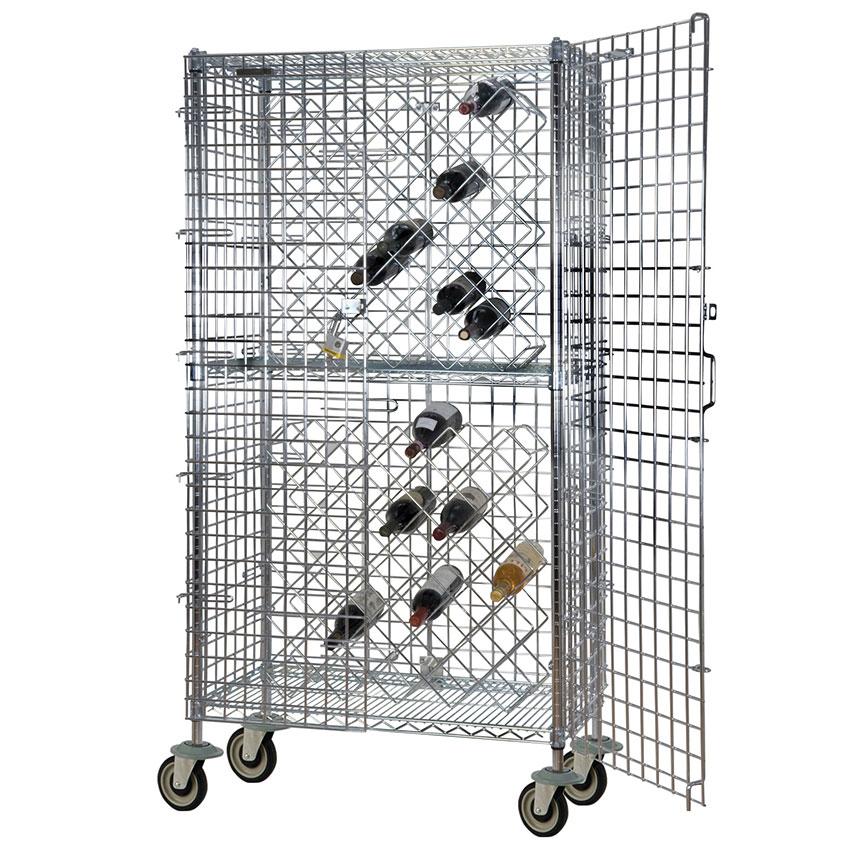 Focus FMWR1836CH Mobile Chromate Security Wine Rack, 82 Bottle Capacity