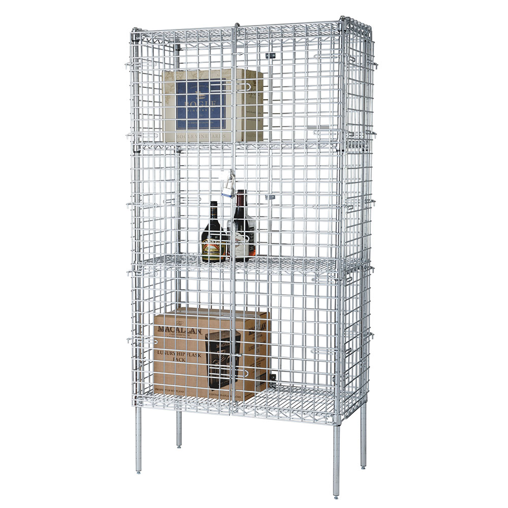 Focus FSSEC18364 Security Cage Complete Stationary Kit w/ 4-Shelves, 18 x 36 x 63-in, Chromate