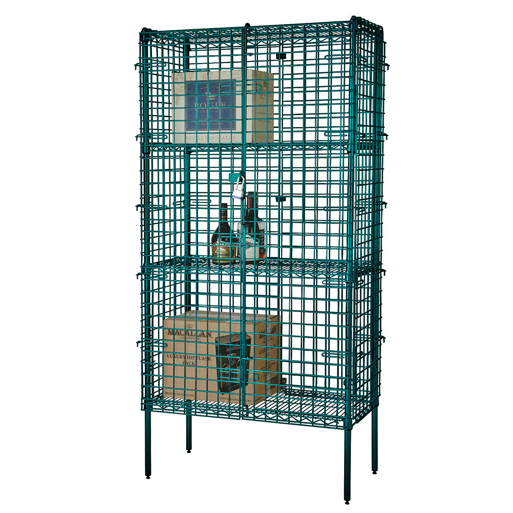 Focus FSSEC24604GN Security Cage Complete Stationary Kit w/ 4-Shelves, 24 X 60 x 63-in, Green