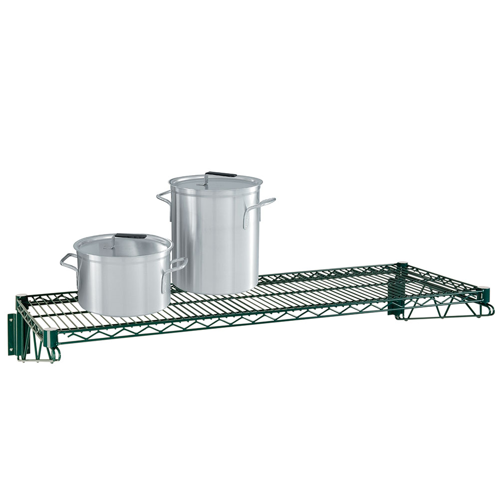 Focus Foodservice FWS1436G Economy Wall Shelf Kit Green Epoxy Coated 14 in D x 36 in W Restaurant Supply
