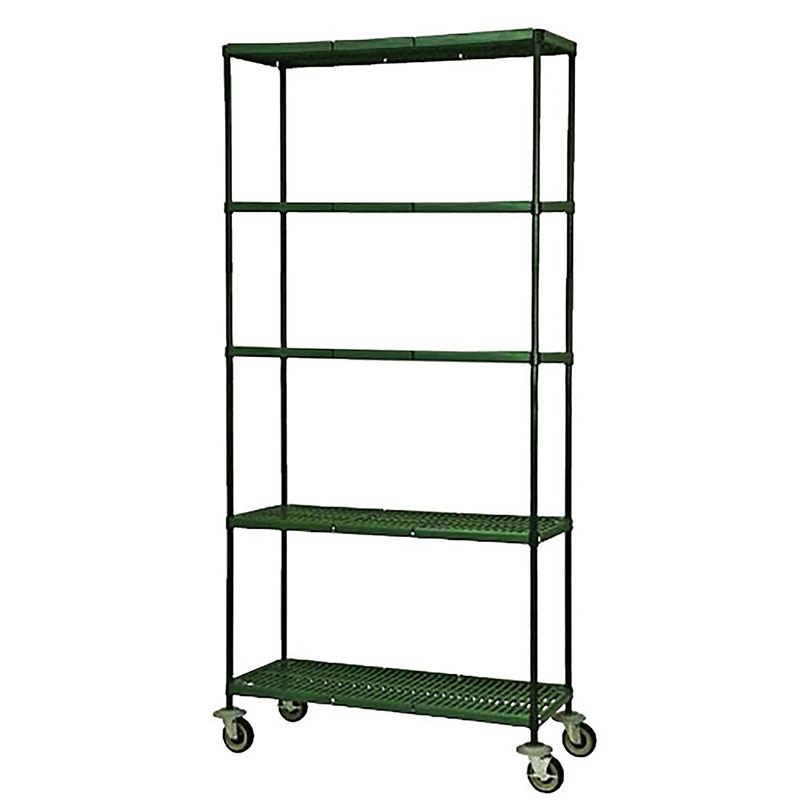 Focus FMPS2148694 4-Tier Mobile Shelving Cart w/ 63-in Posts, 21 x 48-in Shelves