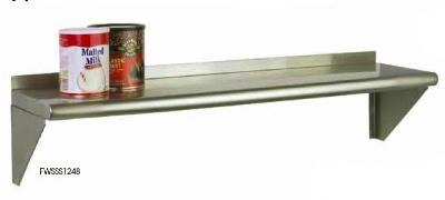 Focus FWSSS1224 24-in Wall Shelving Kit w/2-Brackets & 1-Shelf, Stainless