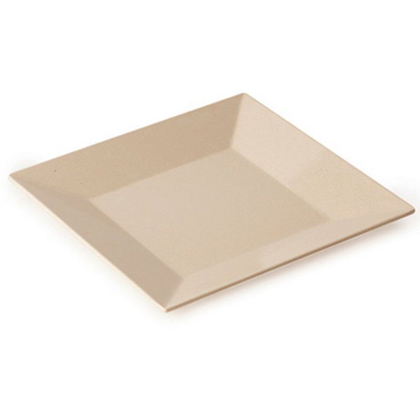 "GET BAM-1103 8"" Square BambooMel Plastic Plate w/ Wide Rim"
