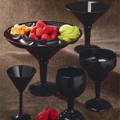 GET SW-1407-BK 10 oz Martini Glass, Black, SAN