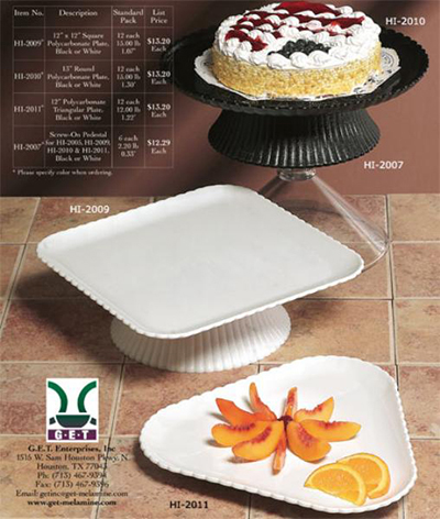GET HI-2011-BK 12 in Platter, Triangular, Polycarbonate,