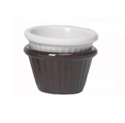 GET F-615-BR 1.5-oz Fluted Ramekin, Brown