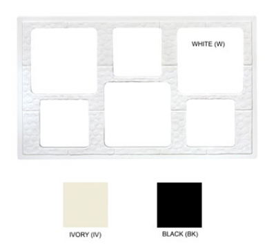 GET ML-162-W Tiles-Cut Outs, 6 Holes Cut Out for Square Crocks, Mel, Dishwasher Safe, White