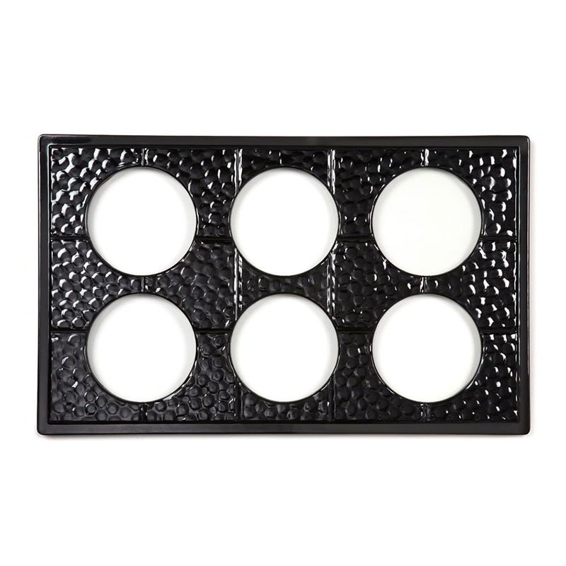 GET ML-171-BK Full Size Tile w/ 6-Round Cutouts for CR-0120 & Break Resistant, Melamine, Black