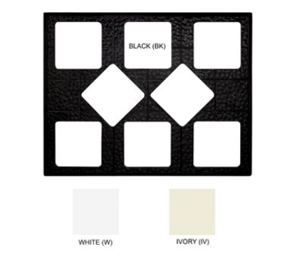 GET ML-175-W Tiles-Cut Outs, 27 in, w/ 8 for ML-149, Square Crocks, Mel, Dishwash Safe, White