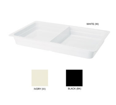 GET ML-26-BK 2-Compartment Melamine Food Pan, 13 x 21 x 2-1/2-in Deep, Black