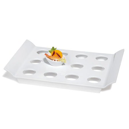 GET ML-291-W Rectangular Tray w/ 12-Round Slots, 18 x 13-in, Melamine, White
