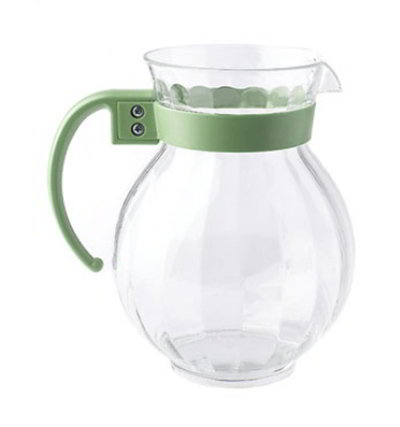 GET P-4091-PC-FG 90-oz Tahiti Pitcher w/ Forest Green Handle, Clear Polycarbonate