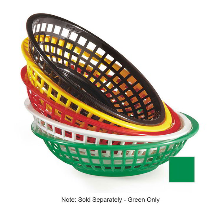 GET RB-820-G 8 in Round Bread & Bun Basket, Plastic, Green