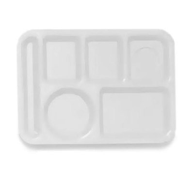GET TL-153-W School Tray, 6 Compartment, Left-Handed, Polypropylene, White