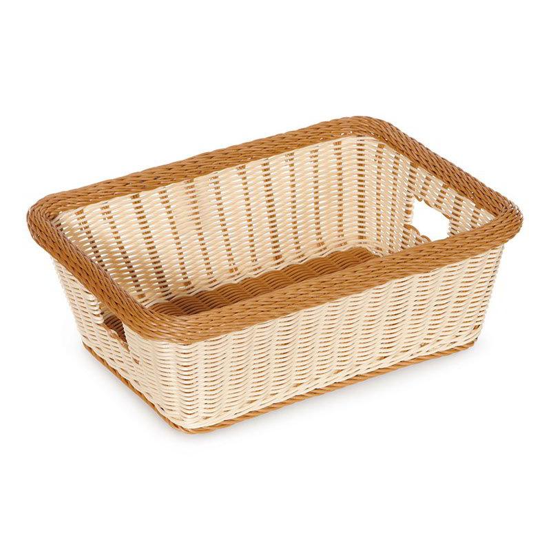 GET Enterprises WB-1515-TT Designer Polyweave Basket Rectangular 18-1/2 x 13-1/2 x 6-3/4 in D Two Tone Restaurant Supply