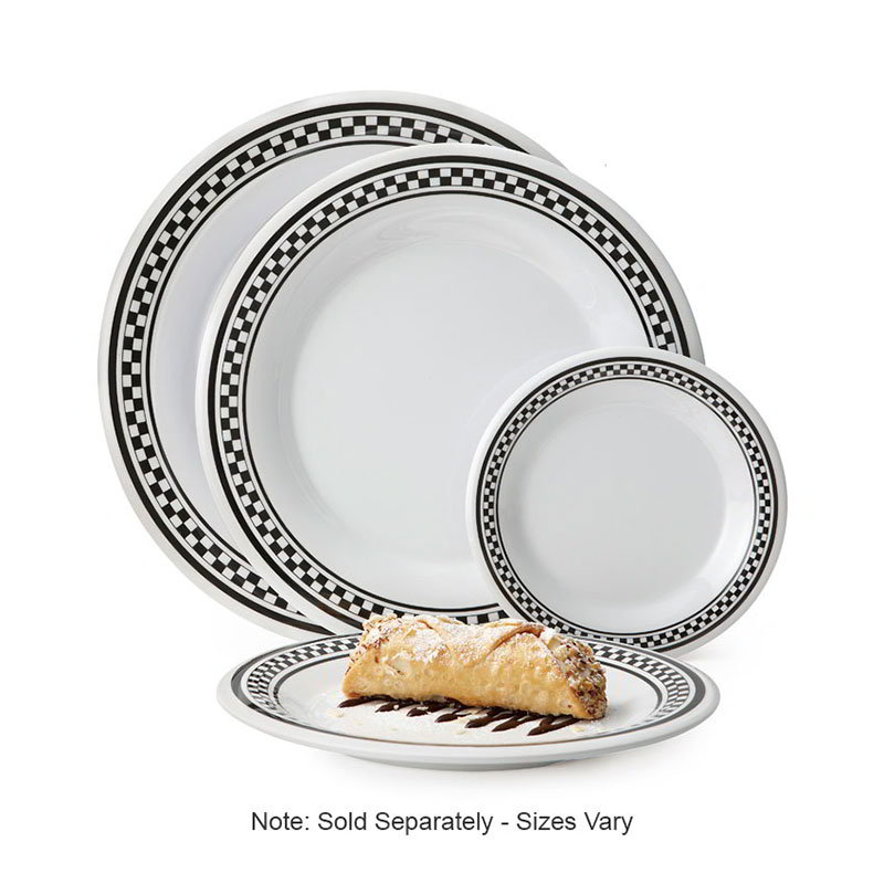 GET WP-9-X 9 in Plate, Wide Rim, Melamine, White w/Checkered Rim
