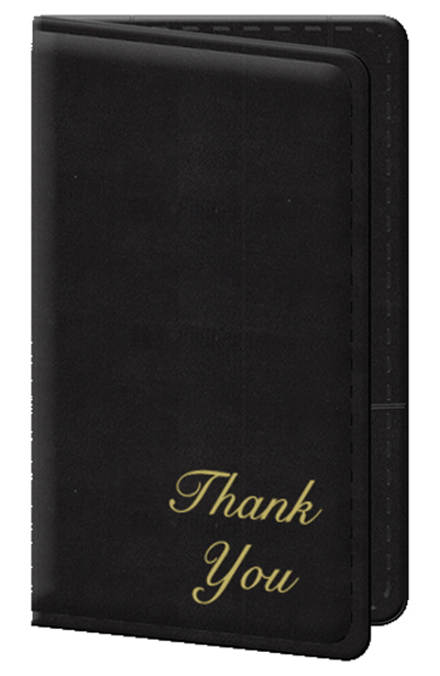 "Risch 5000P-B Guest Check Holder - Gold ""Thank You"" Black"