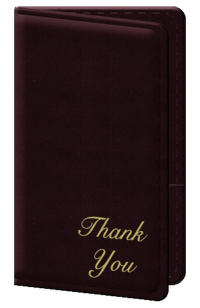 """Risch 5000P-W Guest Check Holder - Gold """"Thank You"""" Wine"""