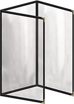 Risch TET8-1/2X14 BK Clear Sewn Menu Cover - Triple Fold-Out, Gold Corners, 8-1/2x14