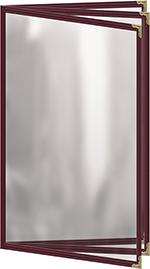 Risch TETB8-1/2X14 MN Clear Sewn Menu Cover - Triple Booklet, Gold Corners, 8-1/2x14