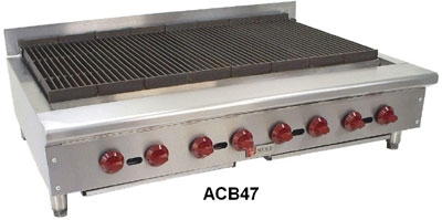Wolf Range ACB47 2 46-3/4 in Achiever Gas Charbroiler, 8 Burners, Manual Controls, LP