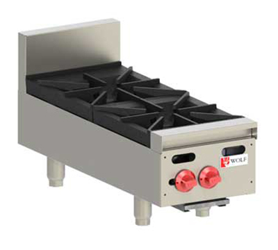 Wolf Range AHP212 LP 12-in Hotplate w/ 2-Open Burners & Cast Iron Grates, LP