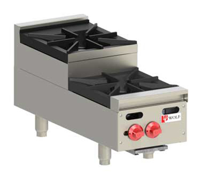 Wolf Range AHP212U LP 12-in Hotplate w/ 1-Open Burner & 1-Step Up Open Burner, LP