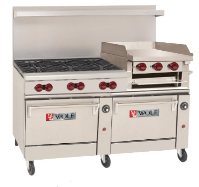 Wolf Range C60 SS 6B 24GB N 60-in Range, 6-Burner, 24-in Griddle/Broiler & 2-Standard Oven, NG
