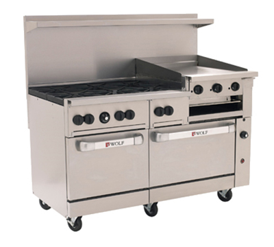"Wolf Range C60 60"" 6-Burner Gas Range with Griddle/Broiler, LP"