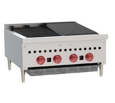 Wolf Range SCB25 2 25-1/4 in Gas Charbroiler, 4 Burners, Manual Controls, LP