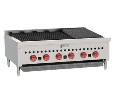 Wolf Range SCB36 1 36-1/8 in Gas Charbroiler, 6 Burners, Manual Controls, NG