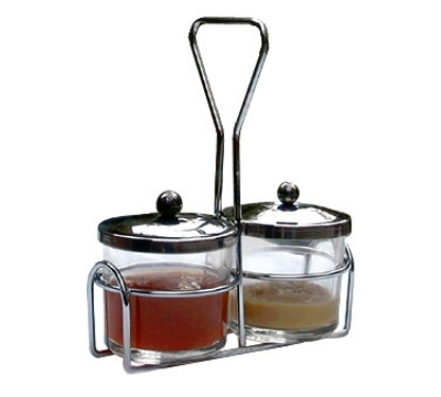 Town Food Service 19826 Condiment Server Set, Includes (2) 8 oz Glass Jars, (2) Stainless Jar Covers