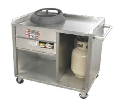 Town Food Service 224800NG Gas One Chamber Mobile Range, Push Handle, Sta