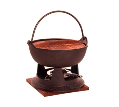 Town Food Service 25300 64 oz Cast Iron Fondue Set, 1 Pot With Handle, 1 Wood Cover, 1 Stand