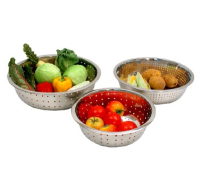Town Food Service 31815 15-in  Stainless Chinese Style Colander w/ Large Perforations