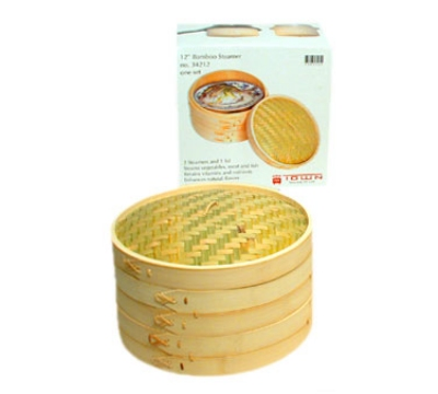 Town Food Service 34212 Bamboo Steamer Set, Includes 2 Steamers, 1 Cover, 12 in