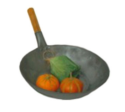 Town Food Service 34704 Flat Bottom Wok, Mandarin Style, With Wood/Steel Riveted Handle, 14 in