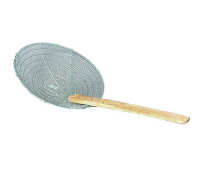 Town Foodservice Equipment 42622 12 in Diameter Coarse Mesh Skimmer Bamboo Handle Round Stainless Restaurant Supply