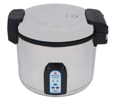 Town Food Service 57131 30 Cup Electric Rice Cooker, One Touch, Stainless Exterior, 230 V
