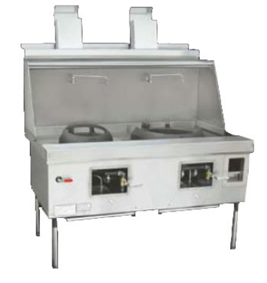 Town Food Service EF-2-SS LP Express Wok Range, 2 Chambers w/ Flue, Lower Right Sink, Stainless Sides, LP