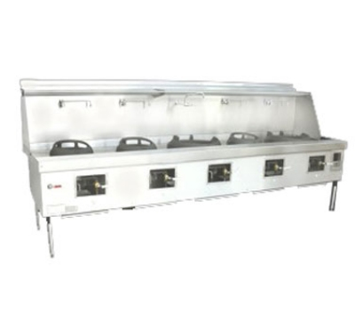 Town Food Service Y-5-SS LP York Wok Range, 5 Chamber, Fiber Ceramic Insulation, Stainless Sides, LP