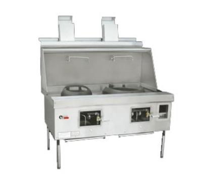 Town Food Service YF-2-SS LP York Wok Range, 2 Chamber w/ Flue, Fiber Ceramic Insulation, Stainless Sides, LP