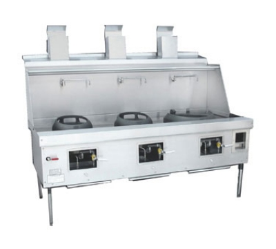 Town Food Service YF-3-STD NG York Wok Range, 3 Chamber w/ Flue, Fiber Ceramic Insulation, Painted Sides, NG