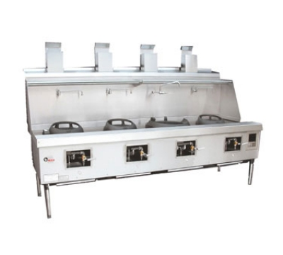 Town Food Service YF-4-SS LP York Wok Range, 4 Chamber w/ Flue, Fiber Ceramic Insulation, Stainless Sides, LP