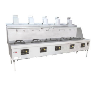 Town Food Service YF-5-STD NG York Wok Range, 5 Chamber w/ Flue, Fiber Ceramic Insulation, Painted Sides, NG