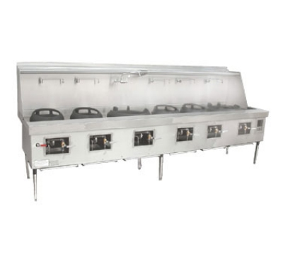 Town Food Service YF-6-SS LP York Wok Range, 6 Chamber w/ Flue, Fiber Ceramic Insulation, Stainless Sides, LP
