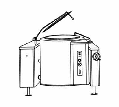 Market Forge FT-60L 60-gal Tilting Kettle, Direct Steam, 2/3-Steam Jacket Design & Open Tri-Leg Base