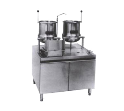 Market Forge MT10T6G200A LP 2-Tilting Kettles w/ 36-in Base & 200-MBTUH Steam Generator, Stainless, LP