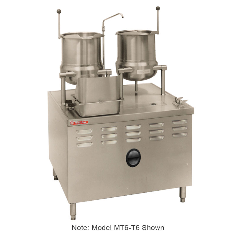 Market Forge MT6T6 Tilting Kettle, Direct Steam, 6-gal Kettles,