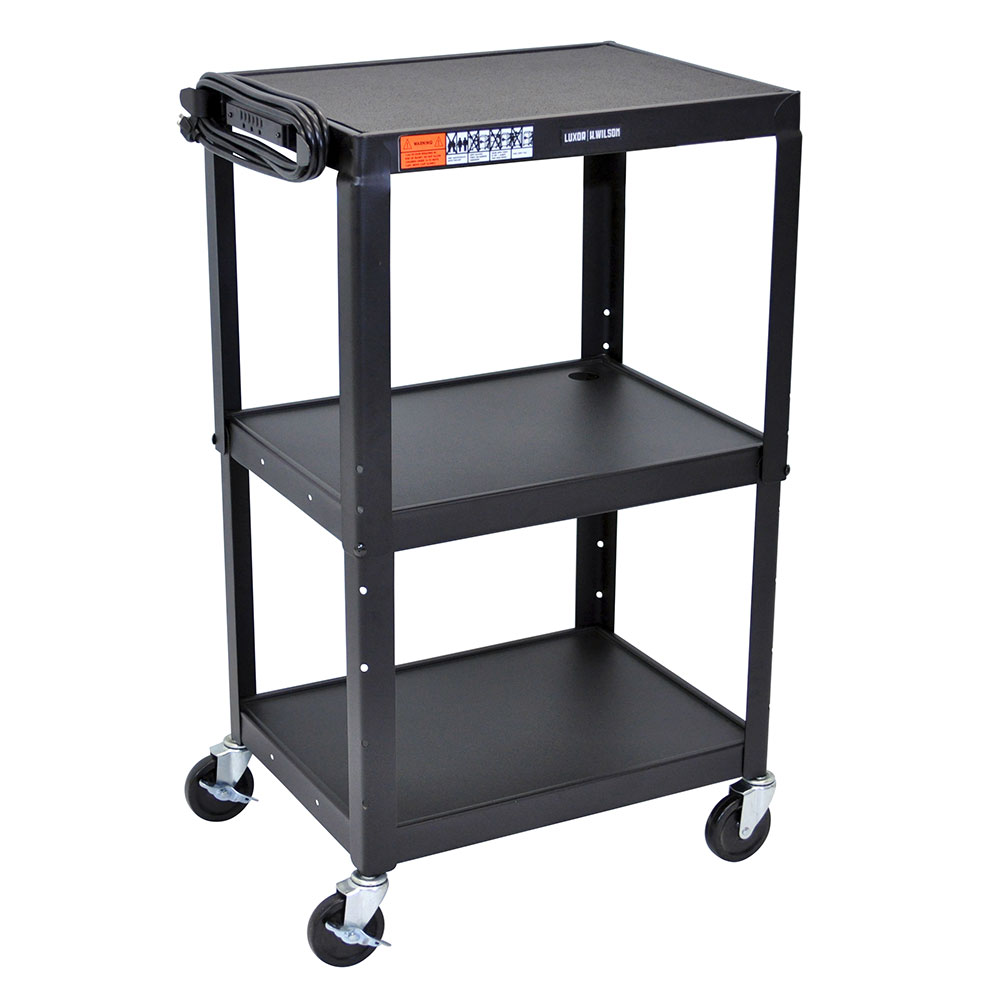 Luxor Furniture AVJ42 Utility Cart w/ Locking Brakes, Adjusts to 42-in, 24 x 18-in, Black